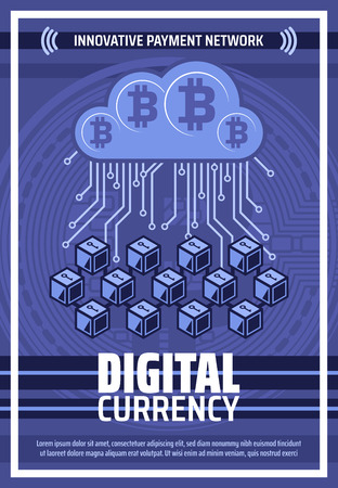 Bitcoin cryptocurrency blockchain and mining technology poster. Vector bit coin or digital crypto currency for innovative payment and e-business and web commerce network