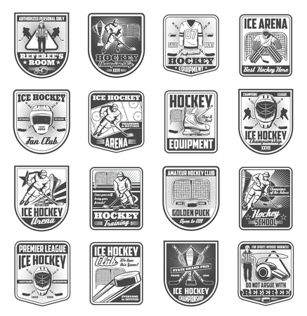 Hockey icons and sport team badges set. Vector retro symbols of hockey player with puck and stick, goalkeeper and referee whistle with ice rink arena for premier league championship or club Stock Illustratie