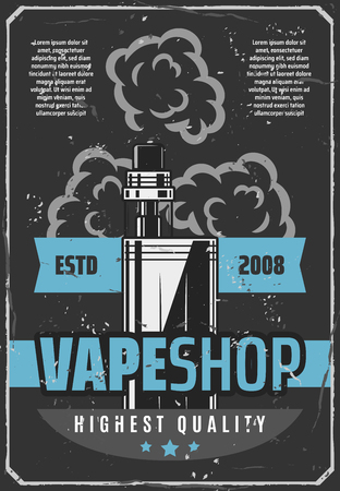 Vape shop advertisement retro poster design of electronic cigarette or e-cigarette for modern smoking or vaping. Vector vintage grunge design of aroma capsule cartridge for shisha or hookah smoke