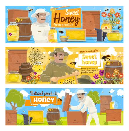 Granja de apicultura y carácter vectorial de apicultor. Hombre de dibujos animados en colmenar tomando miel natural de panal en colmena con enjambre de abejas y flores, industria agrícola Ilustración de vector