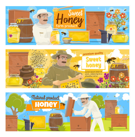 Beekeeping farm and beekeeper vector character. Cartoon man at apiary taking natural honey from honeycomb in hive with bees swarm and flowers, agriculture industry