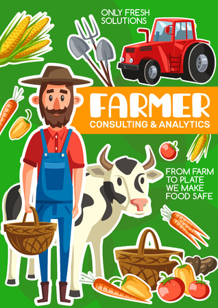 Farmer agriculture and cattle farm poster. Vector cartoon man with organic vegetables harvest in basket, cow and tractor with planting and gardening tools