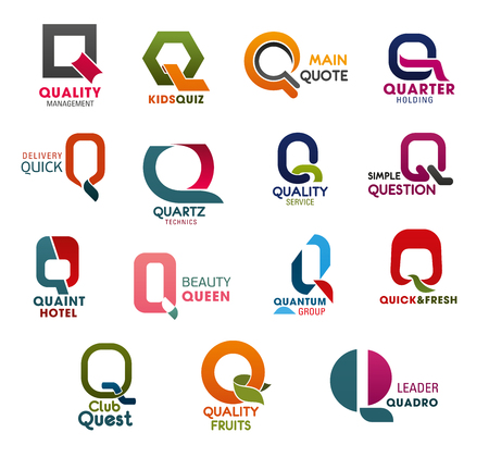 Letter Q icons for business company, technology and industry corporation. Vector Q symbols for quality, quiz or quote and quarter with question or queen and quantum for studio or agency design