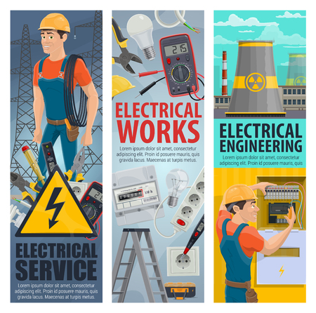 Electrical service works banners of electrician engineer with electric repair equipment, Vector man with ammeter, voltmeter or voltage tester screwdriver tool for energy plug and socket