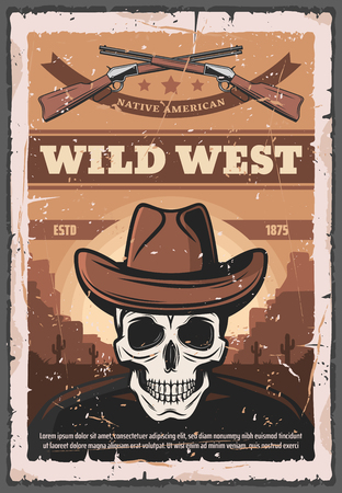 Wild West retro poster of skull in sheriff cowboy hat and rifle guns. Vector native American vintage design with Colorado canyon desert and cactuses for wanted dead or alive Çizim
