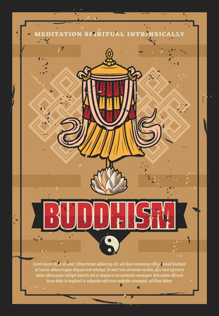 Buddhism religious traditional victory banner or Dhvaja flag. Vector retro poster design of Dharma signs, Yin Yang symbol and lotus flower for Zen meditation and Buddhist worship ornament Illustration