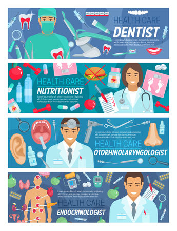 Dentistry, otorhinolaryngology or endocrinology and nutrition healthcare medical banners. Vector dentist, nutritionist or otorhinolaryngologist doctors with treatment medicine, human organs ans pills