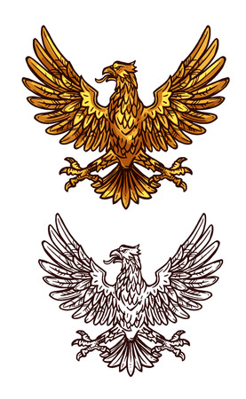 Gothic heraldic eagle sketch icon of golden griffin with beak, spread wings and claws. Vector vintage royal or monarchy gryphon vulture mystic bird silhouette for emblem, shield or coat of arms symbol