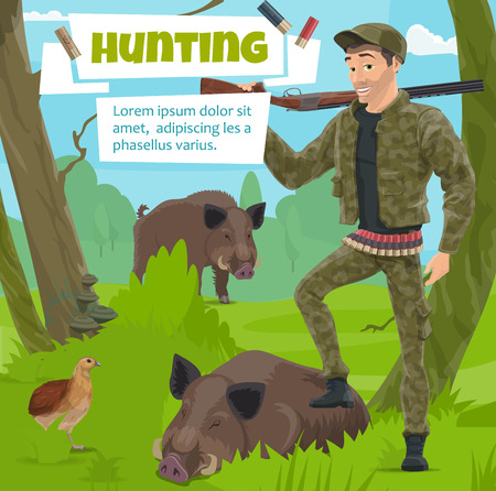 Hunting open season poster, hunter man with wild hog trophy and rifle gun on shoulder. Vector design of forest aper or boar and partridge bird with bullets