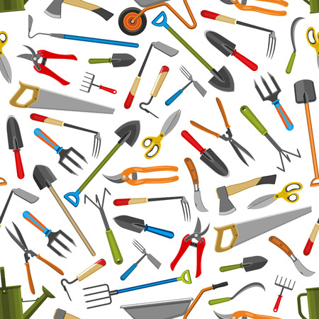 Gardening and farmer planting seamless pattern. Vector background of gardener tools wheelbarrow, spade and rake or hoe and secateurs with watering can for garden cultivation Illustration