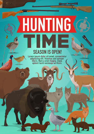 Hunt open season poster of wild animals and forest birds for African safari adventure. Vector design of hunter rifle gun for buffalo, mountain sheep or gazelle and grouse with ermine and mink Stock Vector - 110955511