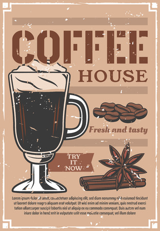 Coffee house advertisement poster of hot cappuccino in glass cup or mug. Vector cafeteria or cafe vintage design of coffee beans with cinnamon or anise stars for americano or espresso in coffeeshop