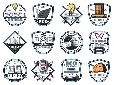 Electrical service and electricity engineering or energy power company icons. Vector symbols of lamp bulb, solar battery or eco electrical windmill and car for electric corporation Ilustração