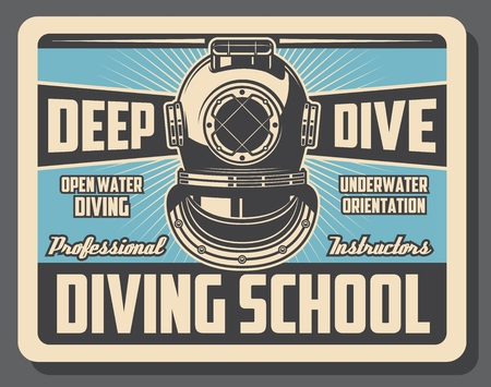Diving school advertisement retro poster of scuba diver aqualung. Vector vintage design for diving instructor training and water orientation in leisure activity hobby Vectores
