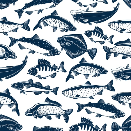 Modello senza cuciture di pesce per la pesca o il ristorante di pesce. Sfondo vettoriale di pesci di mare e oceano scad o sugarello, scomber o acciughe e tonno, sardine e branzini o orata dorada