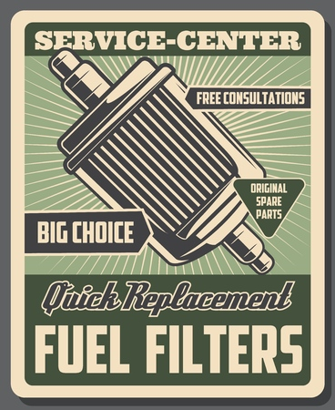 Car service center poster, fuel filters quick replacement and vehicle mechanic consultation or diagnostics. Vector vintage retro design of automotive repair or garage restoration station