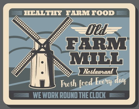 Old farm mill retro poster for healthy food market or farmer shop. Vector vintage design of farming and agriculture household with arable land filed for vegetable and fruit harvest Illusztráció