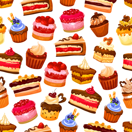 Pastry desserts ans sweet cakes pattern background for patisserie or cafeteria. Vector seamless design of chocolate cupcake, tiramisu or muffin and cheesecake for birthday card Çizim