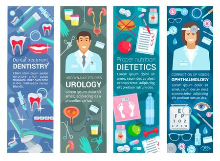 Bannières médicales en dentisterie, urologie ou ophtalmologie et diététique nutrition santé. Dentiste vectoriel, urologue ou ophtalmologiste et médecins spécialistes de l'alimentation avec équipement de médecine et de diagnostic Vecteurs