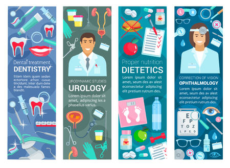 Dentistry, urology or ophthalmology and dietetics nutrition healthcare medical banners. Vector dentist, urologist or ophthalmologist and diet specialist doctors with medicine and diagnostic equipment Illustration