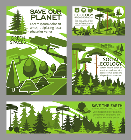 Ecology and nature conservation posters and banners for green environment and pollution protection. Vector design of forest trees and parks for planting and horticulture social eco erath project