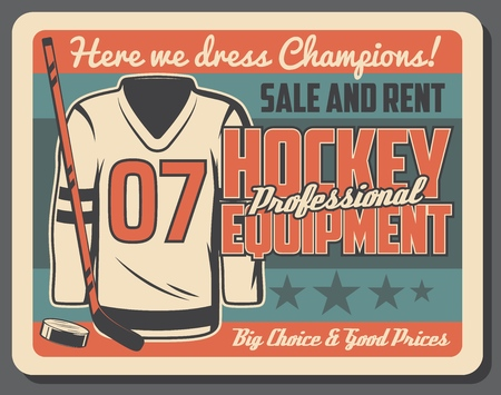 Hockey sport shop advertisement poster for uniform outfit sale and equipment rent for team training or match championship. Vector retro design of stick and puck with goalkeeper shirt