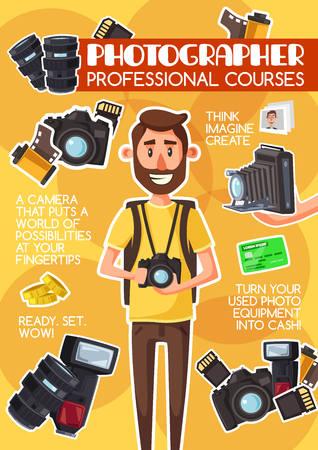 Photographer school or profession photography courses advertisement poster. Vector cartoon design of c man with photography equipment camera, optic lens and photo films or shoot flash Иллюстрация