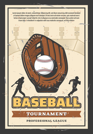 Baseball sport league championship retro poster for professional team tournament. Vector vintage design of baseball player with ball and bat in glove on arena with banner