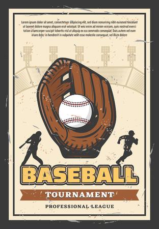 Cartel retro del campeonato de la liga deportiva de béisbol para el torneo de equipos profesionales. Diseño vintage vector de jugador de béisbol con pelota y bate en guante en arena con banner