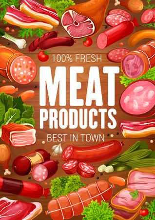 Fleisch- und Wurstposter für Metzgerei oder Gourmet-Feinkostladen-Design. Vector Hähnchenkeule, Schweinespeck mit Brisket und Salami oder Peperoniwurst und Steak mit Gewürzen