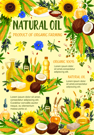 Organic oil products poster of farm bio hemp, coconut or sunflower and corn vegetables, peanut or hazelnut and extra virgin olive or flax oils. Vector design for cooking and healthy nutrition Stock Illustratie