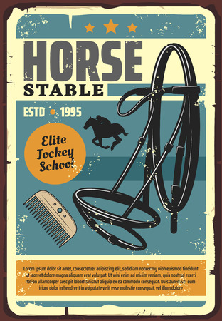 Horse jockey school retro poster for elite horserace training or stable. Vector vintage grunge design of jockey rider equestrian equipment of comb and saddle harness Illustration