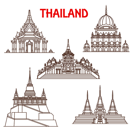 Thailand Buddhist temples architecture vector landmark icons. Thin line facades of Golden Buddha Wat Traimit, Saket Mount or Pho and Sikh temple or Lak mueang shrine in Bangkok