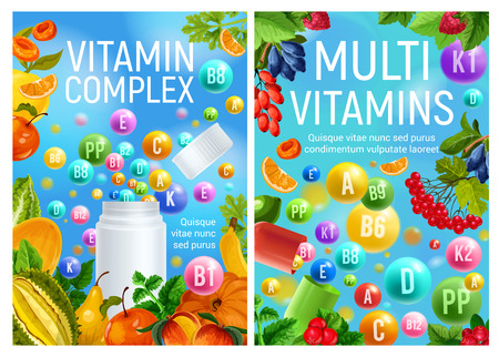 Vitamins in vegetarian vegetables, organic fruits and natural berries. Vector multivitamins and minerals complex in healthy nutrition food for dietetics and healthcare design