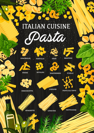 Italian pasta restaurant menu, traditional Italy cuisine. Vector pasta of conchiglieand lasagna, farfalle or orzo and rigatoni, penne with ditalini or fusilli maccheroni and linguine spaghetti Ilustracja