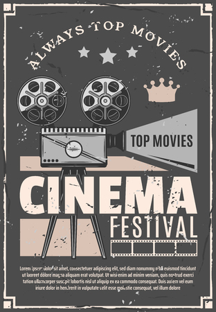 Cinema festival or movie premiere retro advertisement poster. Vector vintage design of film camera or video projector for cinematography night festival with stars and crown
