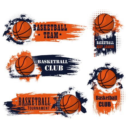 Basketbalclubpictogrammen voor het kampioenschap van de universiteitsliga of de toernooiwedstrijd van universiteitsspelers. Vectorsymbolen van basketbalbal voor doel met sterren en kop op grungesinaasappel