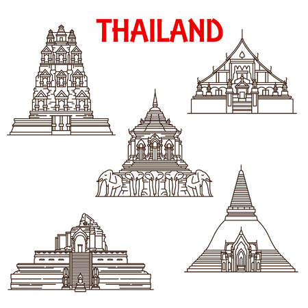 Thailand Buddhist temples architecture vector icons. Thin line facades of Wat Phra Singh, Chedi Luang or Mun and Pathommachedi or Pathom Chedi in Chiang Mai province and Mahathat in Ayutthaya Фото со стока - 110955645