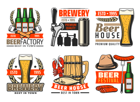 Beer pub or brewery bar icons of beer mugs and bottles with snacks, hop and malt. Vector isolated set of opener, brewing production factory, sausage and fish with lobster for Oktoberfest festival Illustration