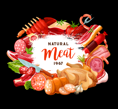 Meat sausages poster for butcher shop or gourmet cooking and restaurant menu. Vector meaty delicatessen chicken or turkey poultry, pork bacon with brisket and salami or pepperoni sausage and steak 일러스트