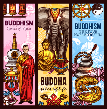 Buddhism religious symbols and sacred culture sketch banners. Vector Dharma wheel, golden Buddha or monk statue and white elephant, Zen meditation lotus flower with stupa shrine for Buddhist worship