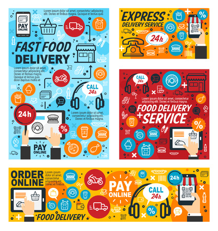 Fast food delivery service, online order of fastfood restaurant or cafe from smartphone. Vector linear user phone, delivery of mexican snacks and drinks, pizza and burgers, desserts and hot dog
