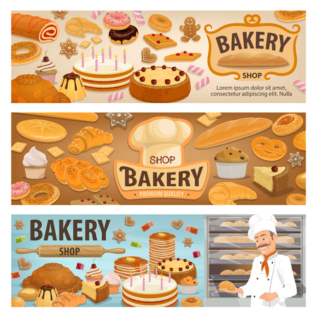 Bakery shop banners of bread and pastry desserts with sweet cakes. Vector baker man with wheat bagel donut or croissant and muffin, chocolate pie and berry cupcake for patisserie or cafeteria design Banque d'images - 128161721