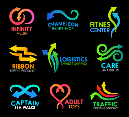 Arrows and lines abstract icons for business company design. Vector curved motion arrows symbols for infinity media, fitness center or paint shop and sewing workshop or logistics express shipping