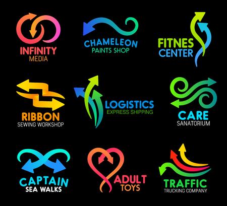 Pfeile und Linien abstrakte Symbole für das Design von Unternehmen. Vektor-gebogene Bewegungspfeilsymbole für Infinity-Medien, Fitnesscenter oder Lackiererei und Nähwerkstatt oder Logistik-Expressversand
