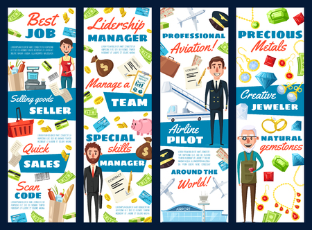 Business manager, aviation pilot or jeweler and supermarket seller professions. Vector cartoon design of men with professional work items, airplane or credit card money and of jewelry gemstones Ilustração