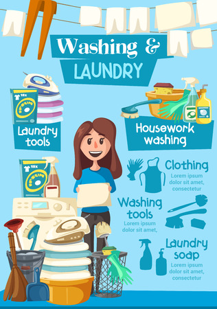 Laundry and washing service advertisement poster for clean home. Vector cartoon design of woman with cleaning items, washin machine and laundry in hands, detergent bubbles with sponge and broom brush
