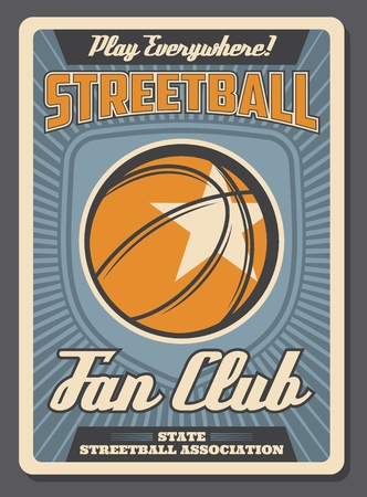 Streetball retro poster for team fan club or sport training. Vector vintage design of basketball ball and victory star for college team or university league championship and tournament