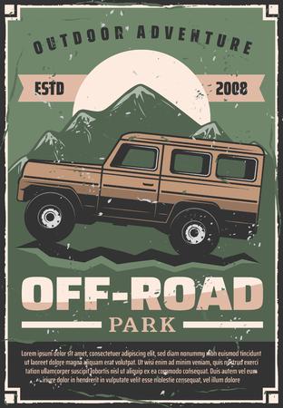 Offroad-Reiseabenteuer oder Auto-Extremsportclub-Retro-Poster. Vektor-Vintage-Design von Pickup Offroad-Auto im Naturpark oder Berge und Wüstendünen für Outdoor-Reisen Vektorgrafik