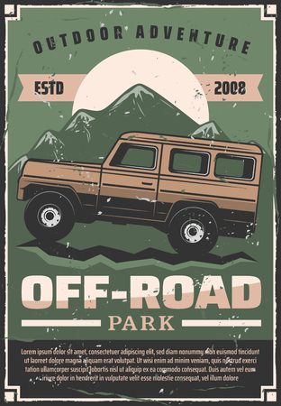 Off-road travel adventure or car extreme sport club retro poster. Vector vintage design of pickup offroad car in nature park or mountains and desert dunes for outdoor trips Illustration